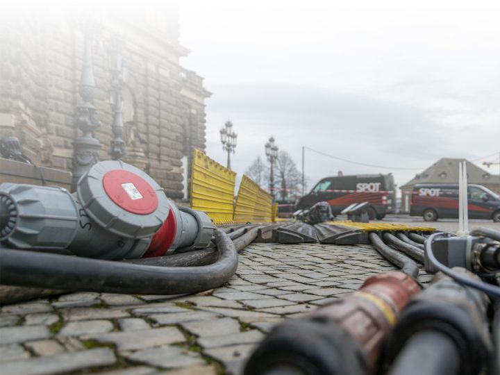 Electrical cables laid for the Semper Opera Ball